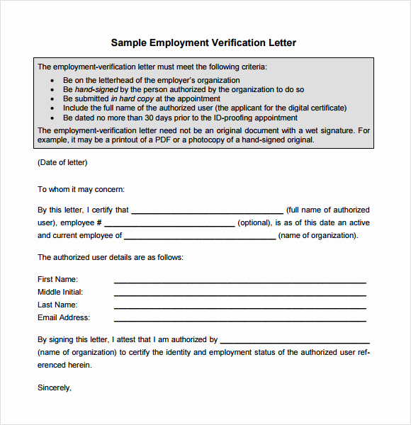 Employment Verification Letter Pdf Lovely Sample Proof Of Employment Letter 9 Download Free