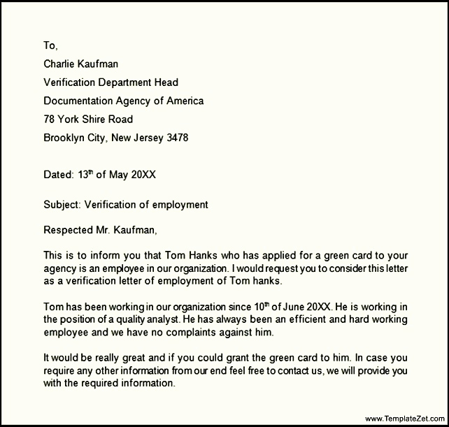 Employment Verification Letter Pdf Unique 9 Verification Of Employment Letter Examples Pdf