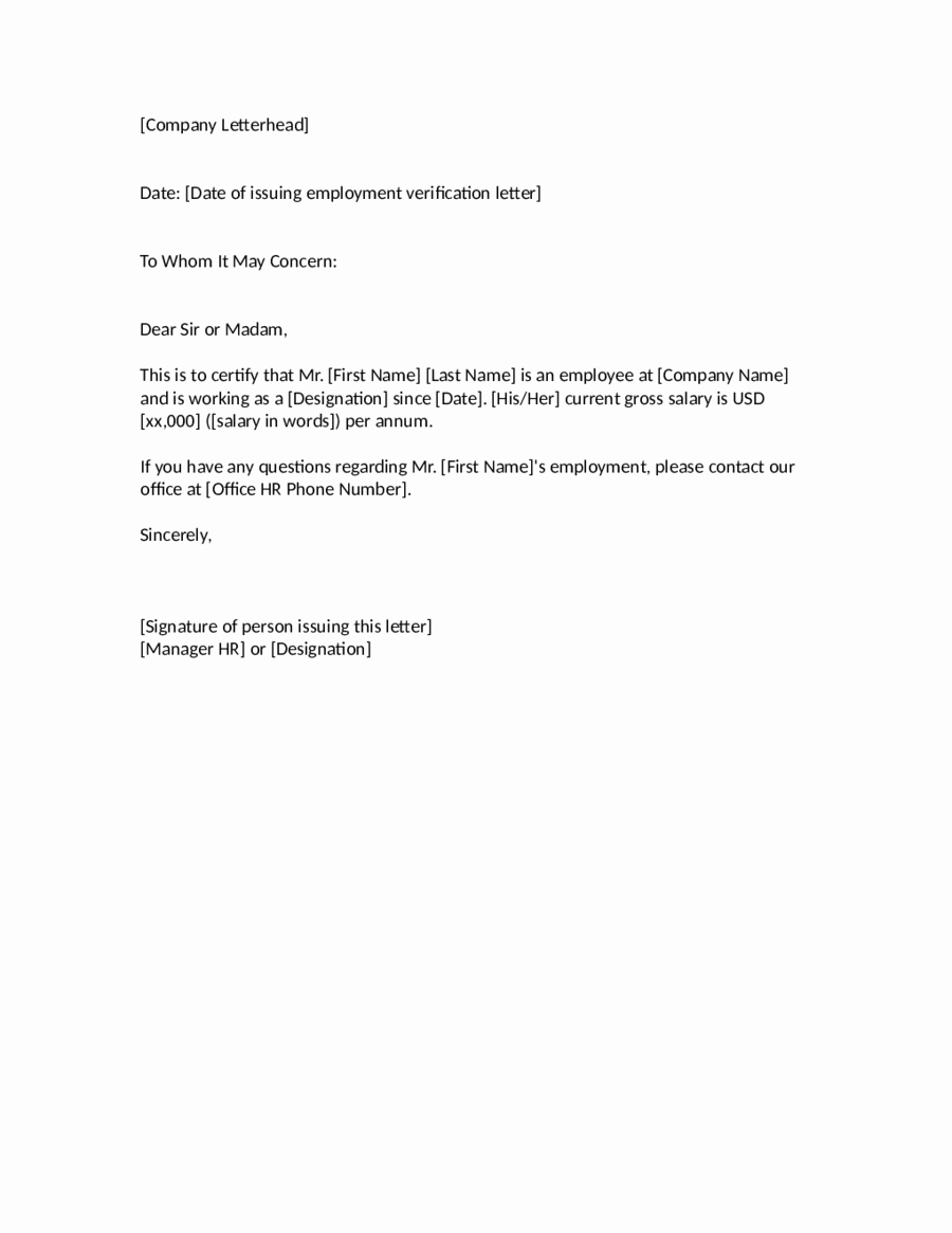 Employment Verification Letter Template Awesome 2019 Proof Of Employment Letter Fillable Printable Pdf