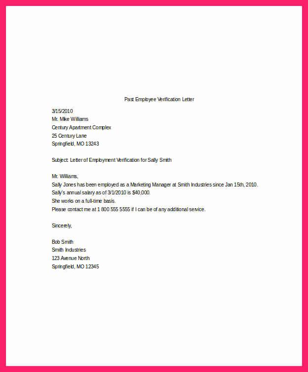 Employment Verification Letter Template Elegant Salary Verification Letter