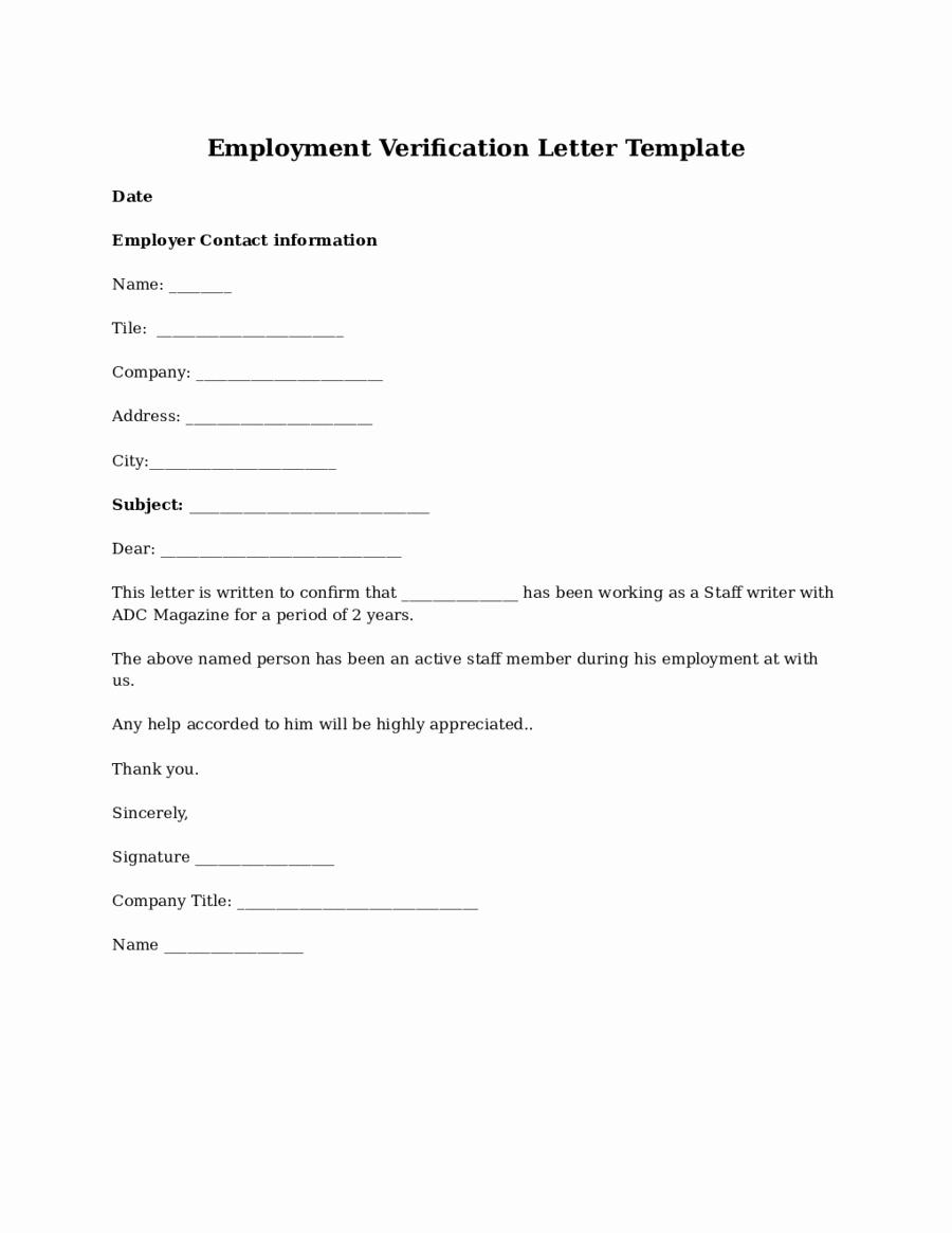 Employment Verification Letter Template Fresh 2019 Proof Of Employment Letter Fillable Printable Pdf