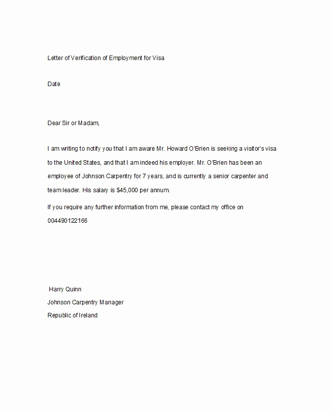 Employment Verification Letter Template Fresh 40 Proof Of Employment Letters Verification forms & Samples