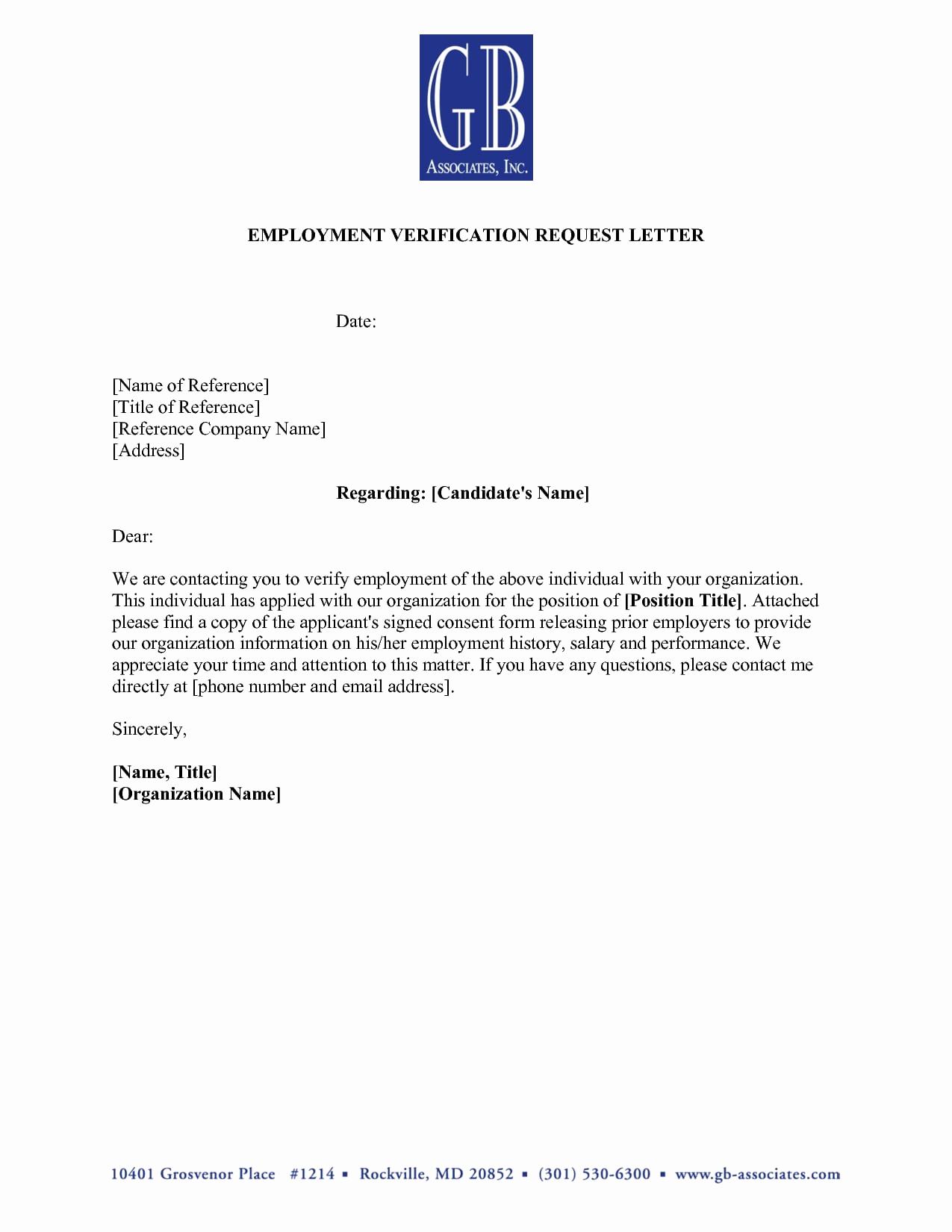 Employment Verification Letter Template Lovely 9 Verification Of Employment Letter Examples Pdf