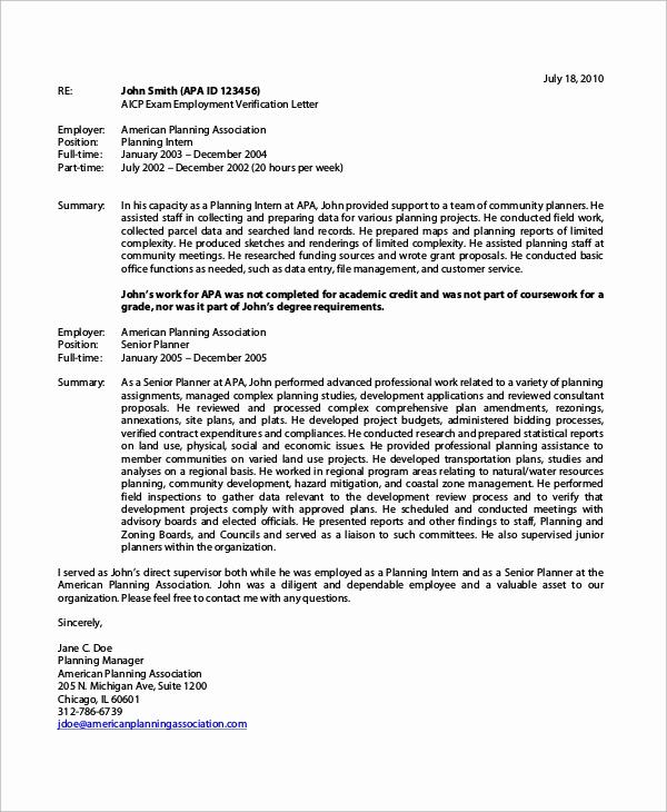 Employment Verification Letter Template Unique Sample Verification Of Employment Letter 8 Examples In
