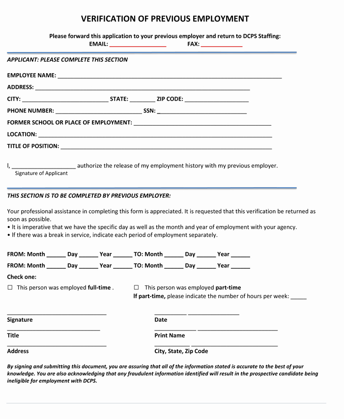 Employment Verification Request form Beautiful 5 Employment Verification form Templates to Hire Best Employee