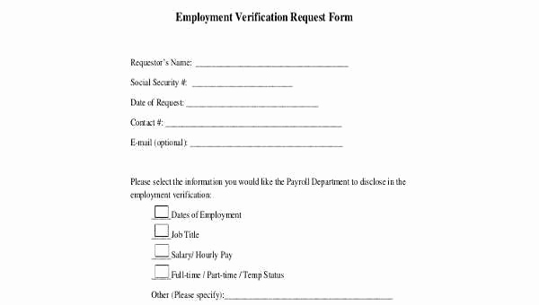 Employment Verification Request form Inspirational Sample Employment Verification Request forms 9 Free