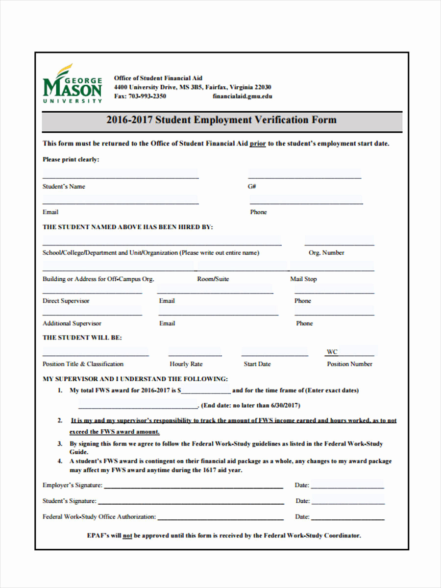 Employment Verification Request form Lovely 50 Sample Employee Request forms