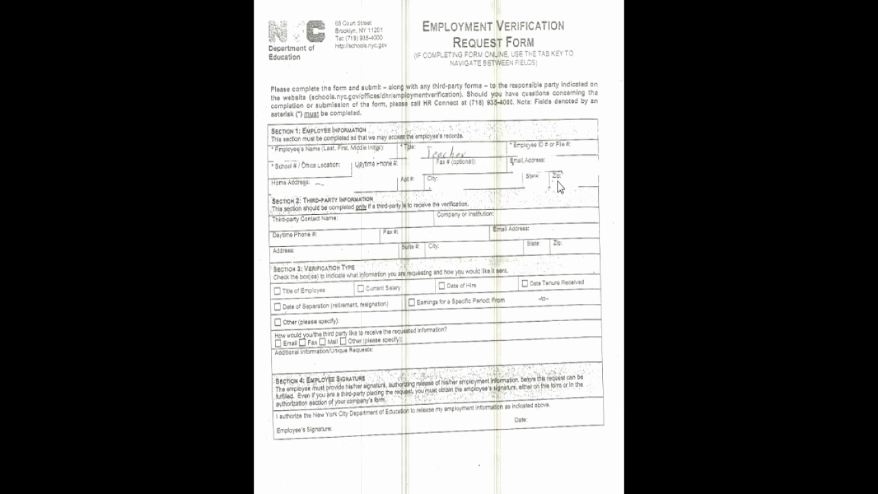Employment Verification Request form Lovely Doe Employment Verification Request form