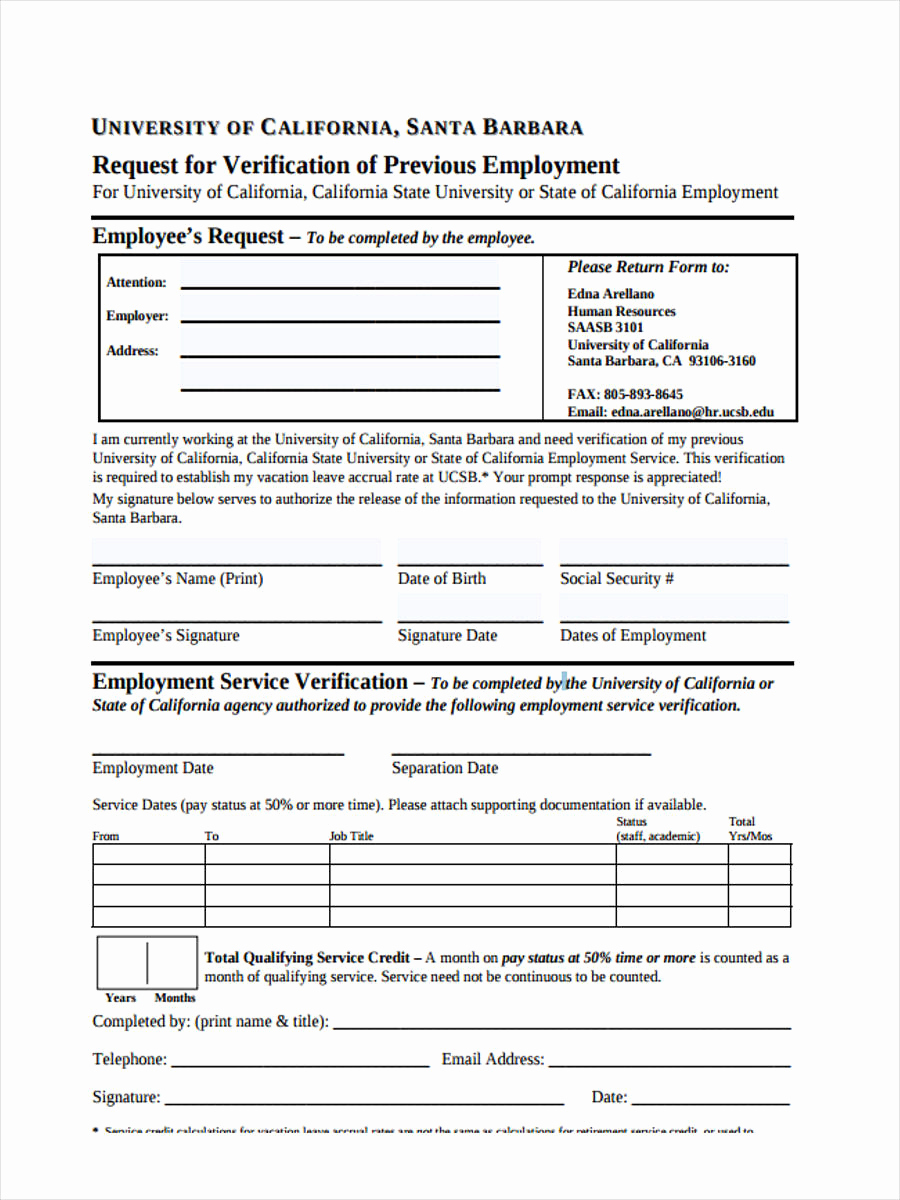 Employment Verification Request form Luxury 50 Sample Employee Request forms