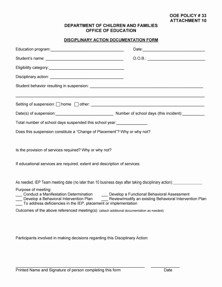 Employment Write Up Template Beautiful 46 Effective Employee Write Up forms [ Disciplinary