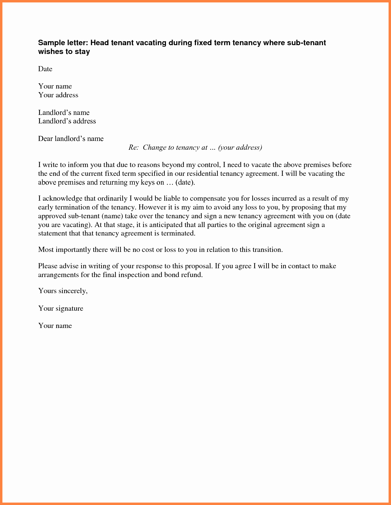 End Of Lease Letters Beautiful 4 Early Termination Of Rental Lease Agreement
