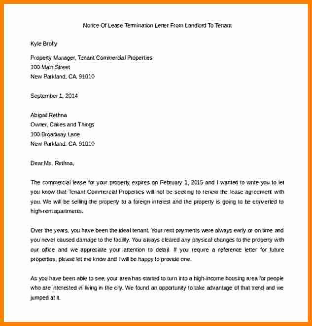 End Of Lease Letters Beautiful 5 End Of Lease Letter to Tenant