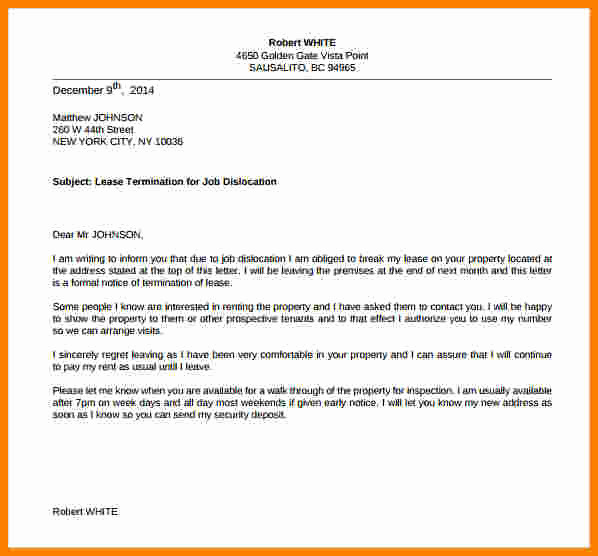 End Of Lease Letters Beautiful 6 General Termination Letter