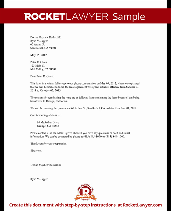 End Of Lease Letters Beautiful Lease Termination Letter form Tenant Notice to Vacate Letter