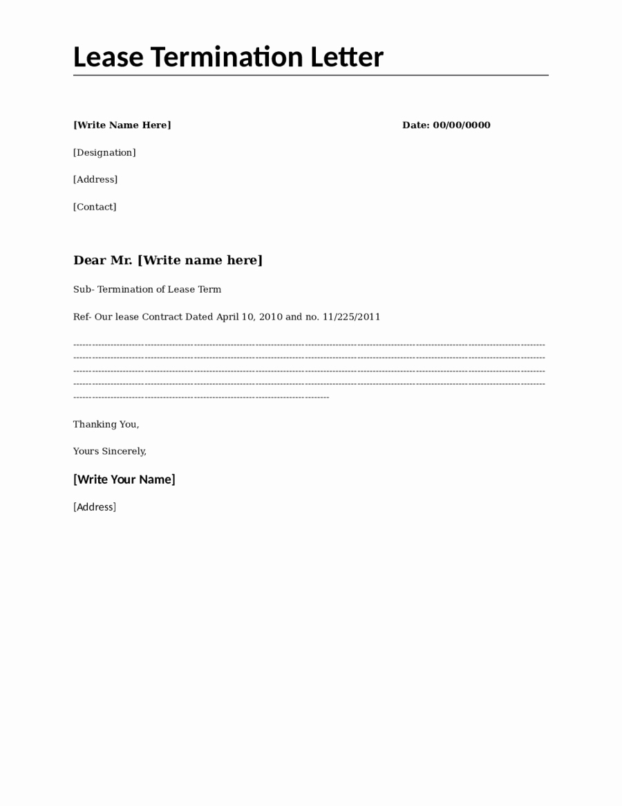 End Of Lease Letters Fresh Lease Termination Letter