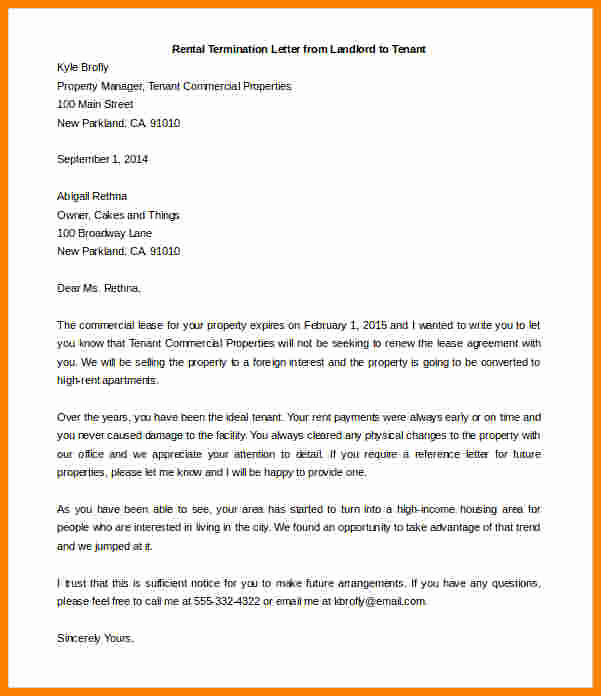 End Of Lease Letters Inspirational 5 End Of Lease Letter to Tenant From Landlord