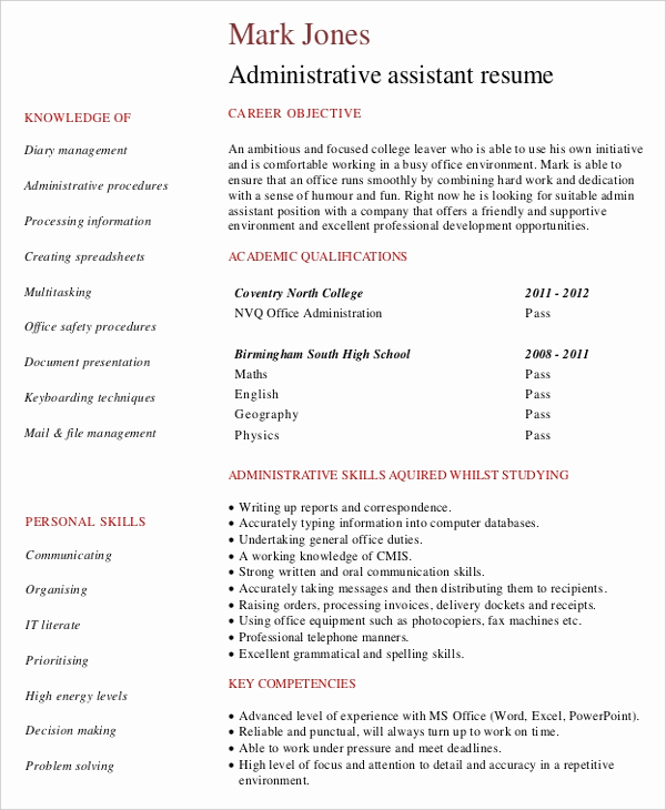 Entry Level Administrative assistant Resume Awesome Entry Level Administrative assistant Resume – 7 Free Pdf