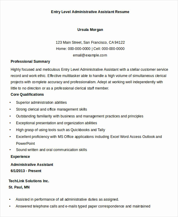 Entry Level Administrative assistant Resume Inspirational Best Administrative Resume 17 Free Word Pdf Documents