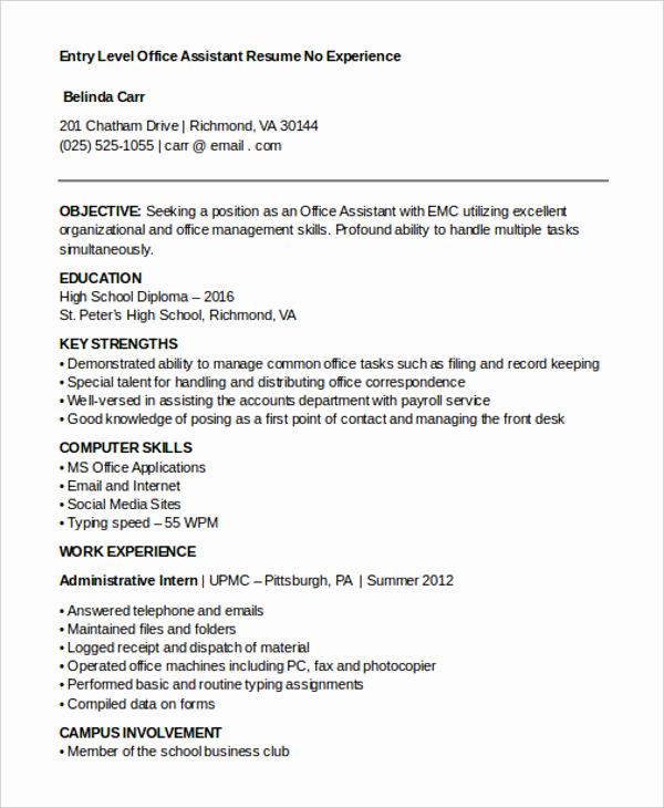 Entry Level Administrative assistant Resume Unique 15 Best Work Resume Templates Pdf Doc