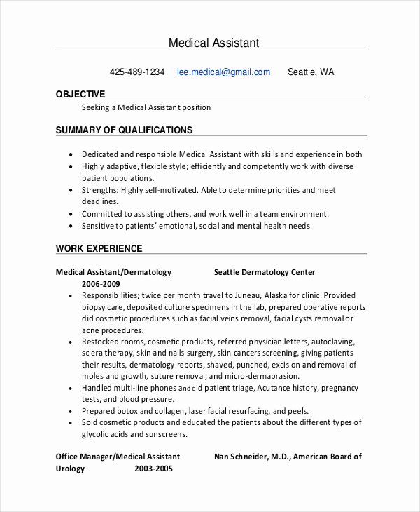 Entry Level Administrative assistant Resume Unique 9 Medical Administrative assistant Resume Templates Free