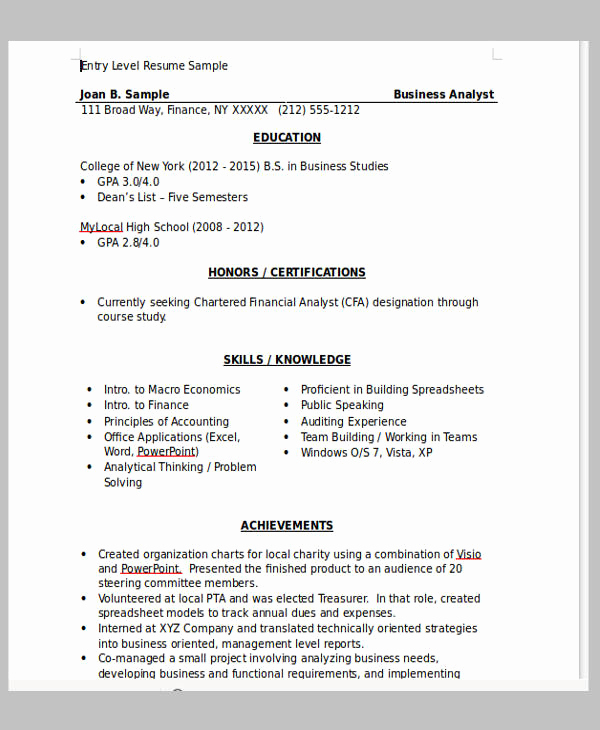 Entry Level Business Analyst Resume Beautiful 13 Fresher Resume Templates In Word