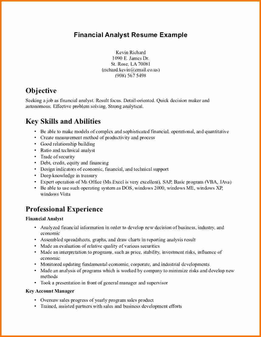 Entry Level Business Analyst Resume Best Of 29 Last Entry Level Financial Analyst Resume Dt E