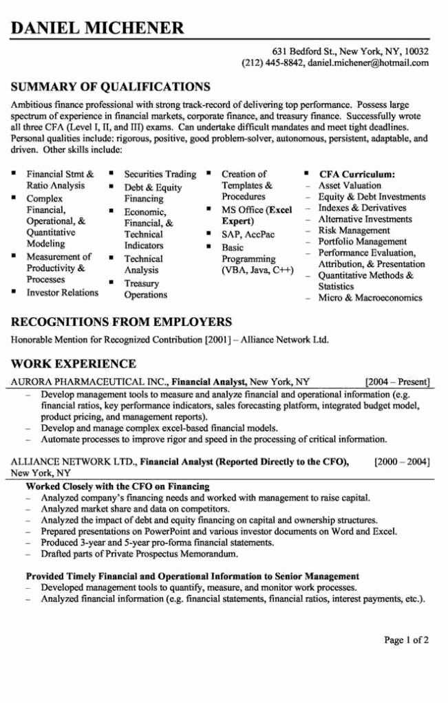 Entry Level Business Analyst Resume Best Of Entry Level Financial Analyst Resume