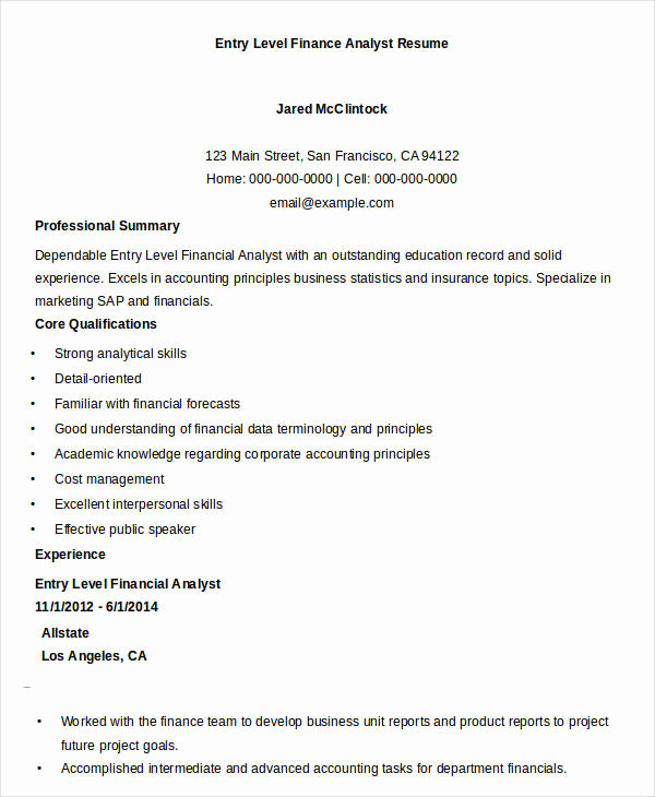 Entry Level Business Analyst Resume Best Of Finance Resume Samples 21 Free Word Pdf Documents