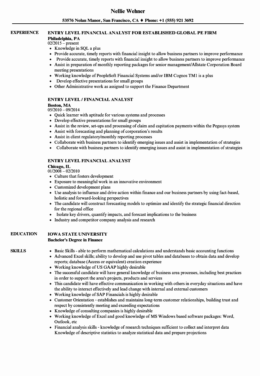 Entry Level Business Analyst Resume Luxury Entry Level Financial Analyst Resume Samples
