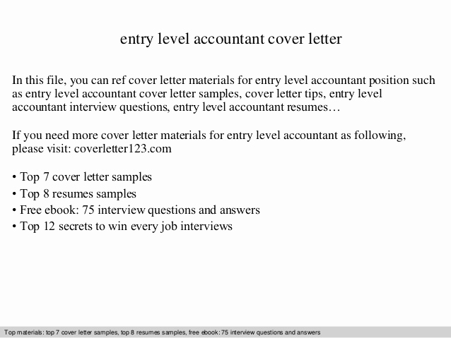 Entry Level Cover Letter Examples Awesome Entry Level Accountant Cover Letter
