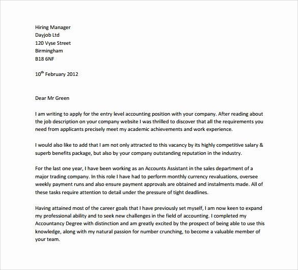 Entry Level Cover Letter Examples Inspirational 8 Entry Level Cover Letters – Samples Examples & formats
