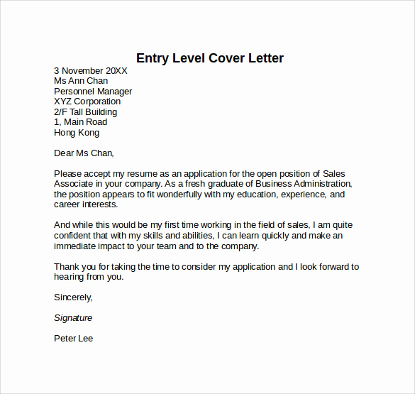 Entry Level Cover Letter Sample Beautiful 10 Entry Level Cover Letter Templates – Samples Examples