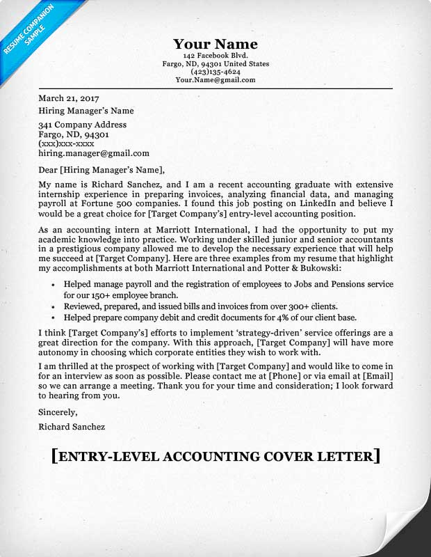 Entry Level Cover Letter Sample Elegant Entry Level Accounting Cover Letter & Tips