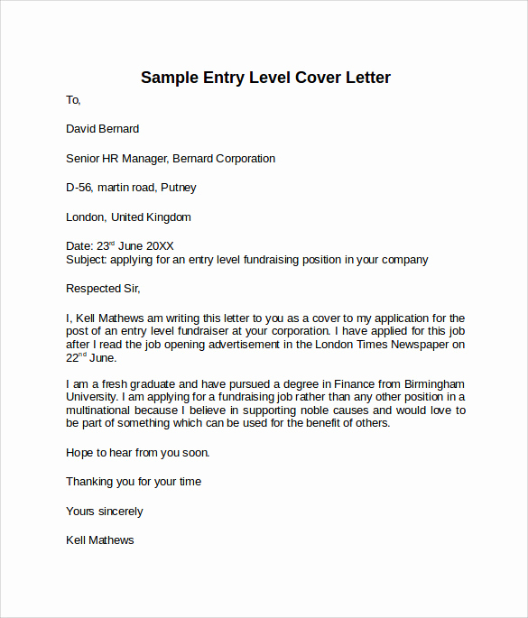 Entry Level Cover Letter Sample Lovely 10 Entry Level Cover Letter Templates – Samples Examples