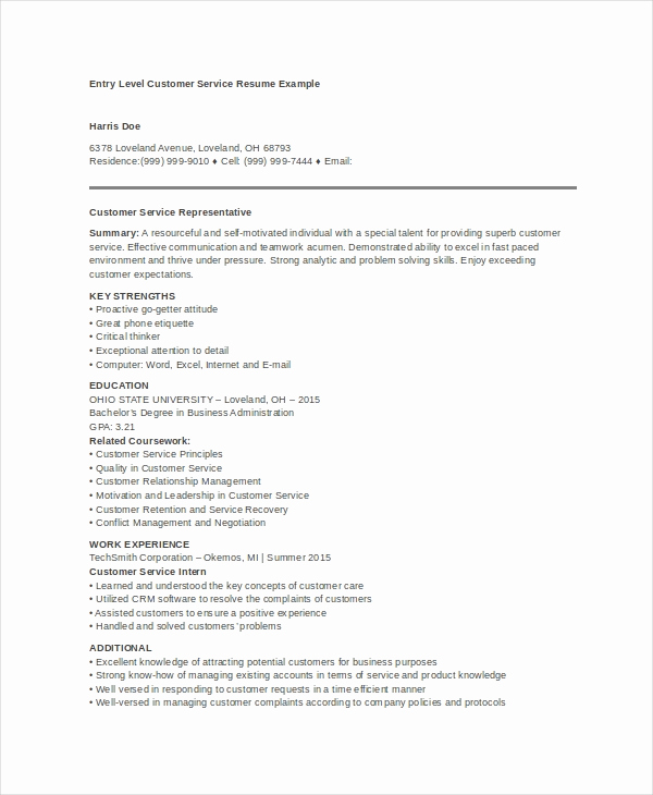 Entry Level Customer Service Resume Beautiful 10 Customer Service Resume Templates Pdf Doc