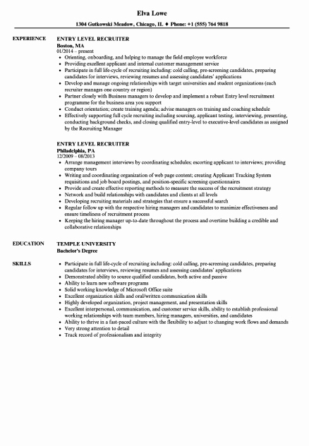 Entry Level Customer Service Resume Lovely It Resume Entry Level Letter Examples Project Manager
