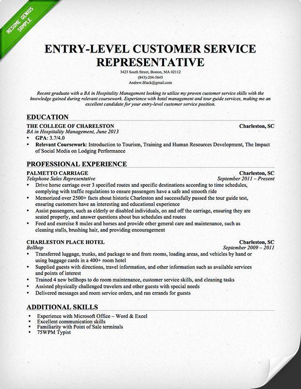 Entry Level Customer Service Resume Unique Entry Level Customer Service Representative Resume