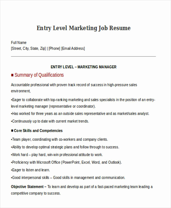 Entry Level Marketing Resume Awesome 30 Simple Marketing Resume Templates Pdf Doc