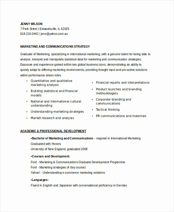 Entry Level Marketing Resume Awesome Marketing Resume Samples for Successful Job Hunters