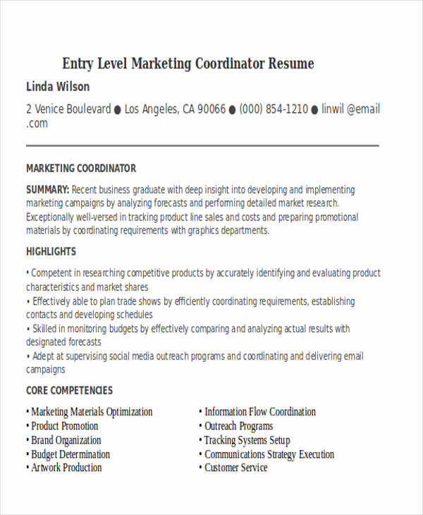 Entry Level Marketing Resume Fresh 30 Simple Marketing Resume Templates Pdf Doc