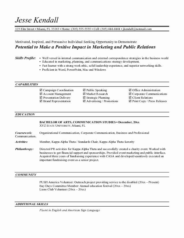 Entry Level Marketing Resume Fresh Entry Level Marketing Resume