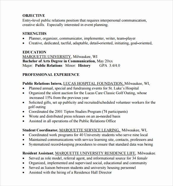 Entry Level Marketing Resume Fresh Sample Entry Level Resume 8 Documents In Pdf Word