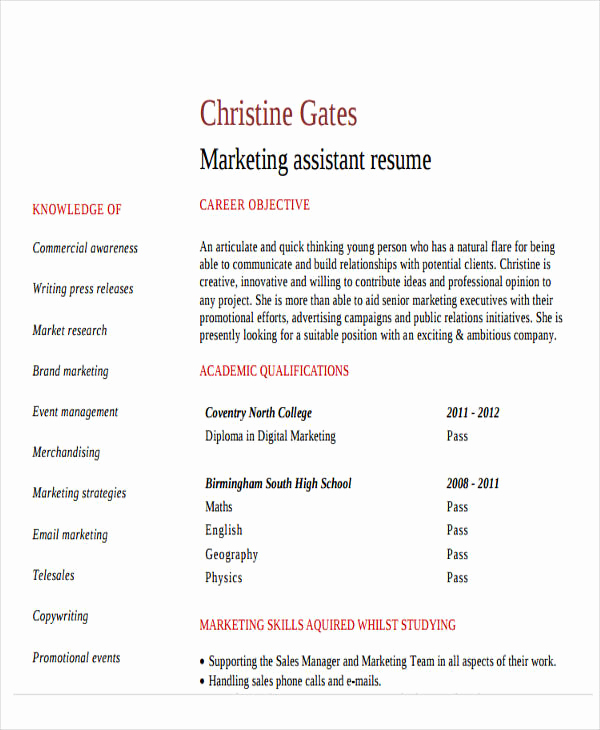 Entry Level Marketing Resume Lovely 48 Simple Marketing Resumes