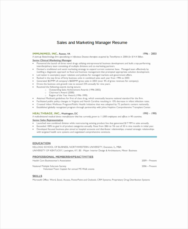 Entry Level Marketing Resume Unique Marketing Resume Template – 10 Free Word Pdf Documents