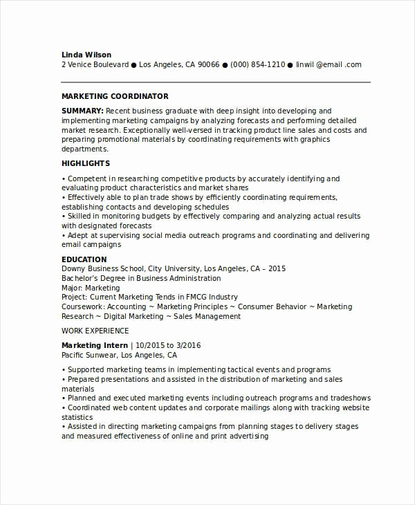 Entry Level Marketing Resume Unique Resume for Marketing Job