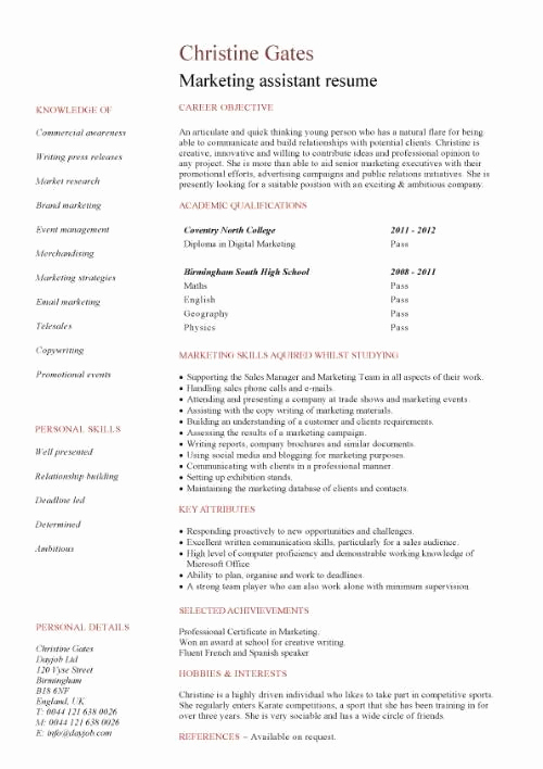 Entry Level Marketing Resume Unique Student Entry Level Marketing assistant Resume Template