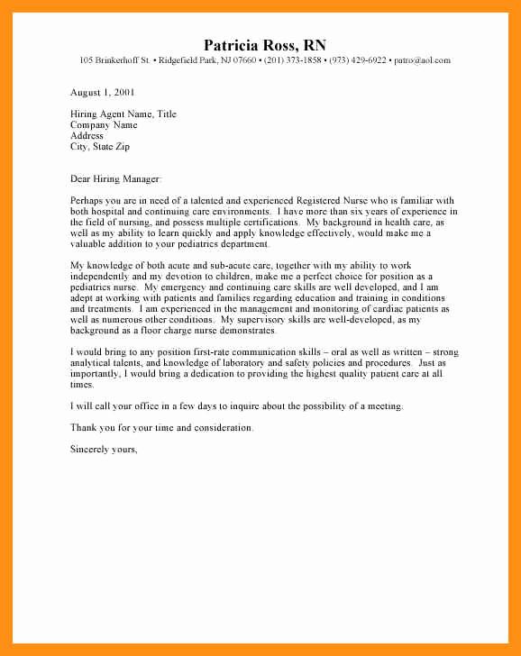 Entry Level Nurse Cover Letter Elegant Entry Level Nurse Cover Letter