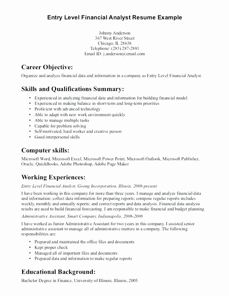 Entry Level Resume No Experience Elegant 15 Entry Level It Resume with No Experience