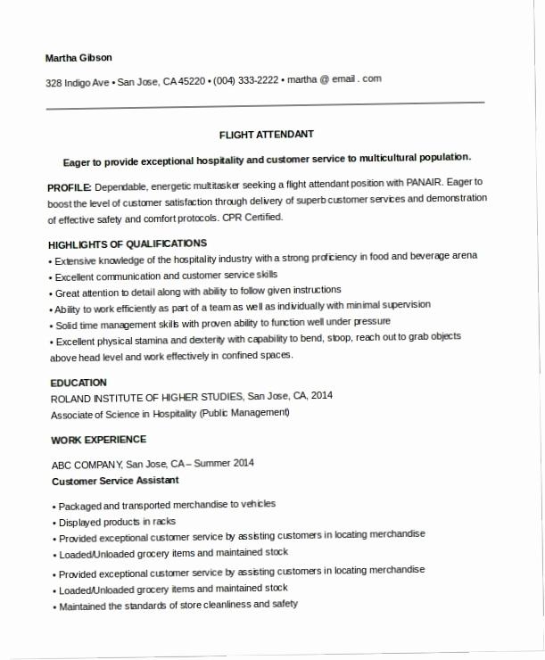 Entry Level Resume No Experience Luxury Flight attendant Resume No Experience Sample