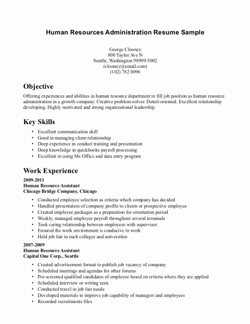 Entry Level Resume No Experience New Entry Level Human Resources Resume Resume Tips